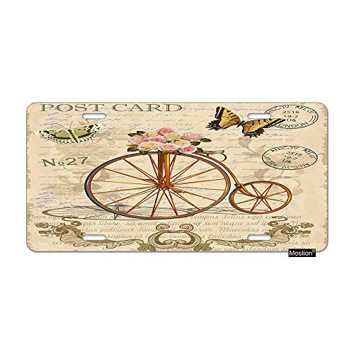 Moslion Letter License Plate Vintage Postcard with Flowers Butterfly Old Bicycle Car Tags Aluminum Metal Custom License Plate Cover 6x12 Inch for Truck SUV Brown