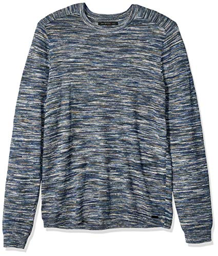 John Varvatos Star USA Men's Zac Long Sleeve Space DYE Crew Neck, Ink Blue, Medium