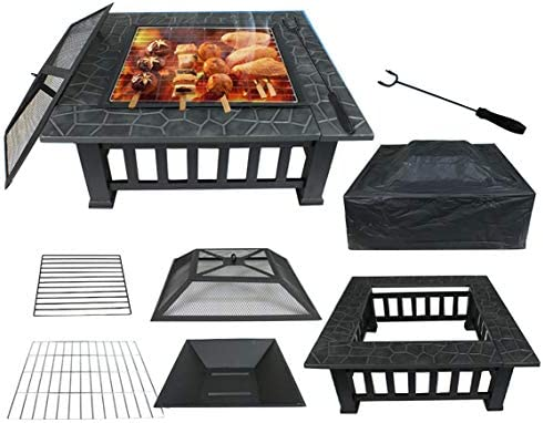 KCHEX Stove Fire Pit Square Metal Firepit Backyard Patio Garden W/Cover Outdoor Cooking Barbecues Grills Eating 32″