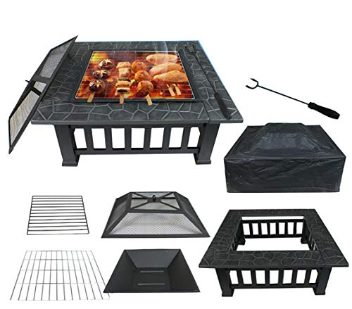 - JedaJeda Stove Fire Pit Square Metal Firepit Backyard Patio Garden W/Cover Outdoor Cooking Barbecues Grills Eating 32