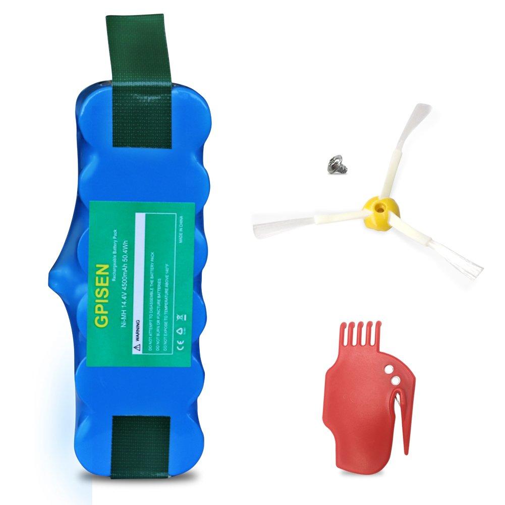 GPISEN 4500 mAh batería para aspiradora iRobot Roomba 500, 600, 700, 800, 900, R3, 80501,4419696 Scooba 450 Series con Scraper y Side Pincel para ...