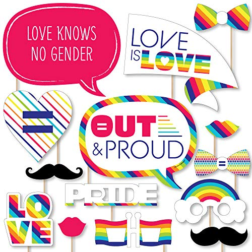 (Big Dot of Happiness Love is Love - Gay Pride - LGBTQ Rainbow Party Photo Booth Props Kit - 20)