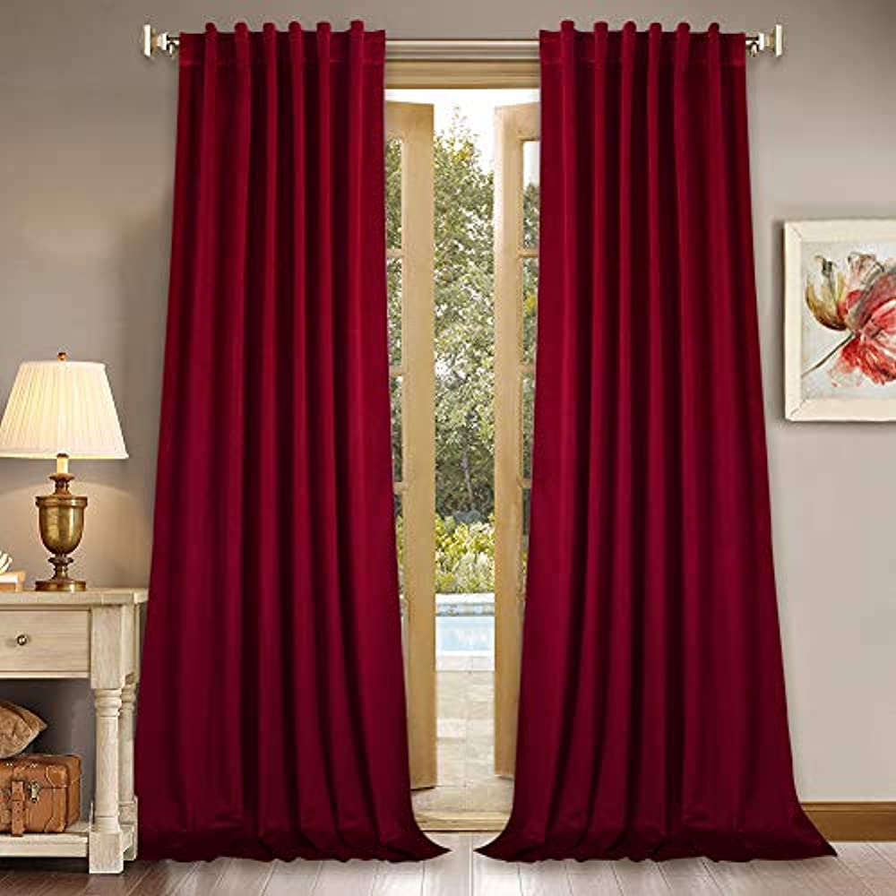 Home Theater Red Velvet Curtains 84 Inches Light