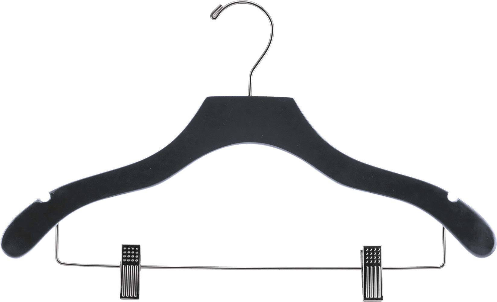 The Great American Hanger Company Wooden Combo Black Finish Hanger with Clips and Notches (Box of 100)