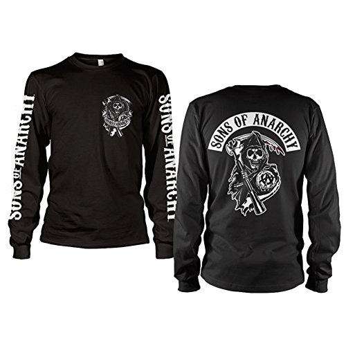 Anarchy Dark T-shirt - Sons of Anarchy Officially Licensed Merchandise SOA Backpatch Long Sleeve T-Shirt (Black), X-Large