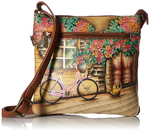 (Anuschka Hand Painted Leather Women's Expandable Travel Crossbody, Vintage Bike)