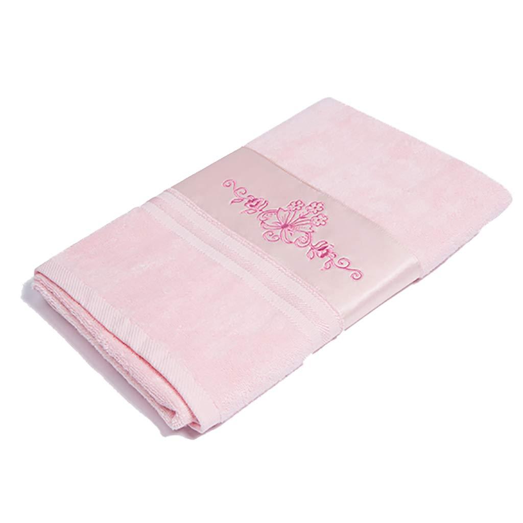 大人用ユニセックス、70 X 140CMに適した乾燥しやすいバスタオル綿ソフト吸水 (色 : ピンク)  ピンク B07S2YMMCV