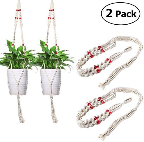 Homemaxs Macrame Plant Hangers, 2 Pack Hanging Planters for Indoor Outdoor Wall Flower Pot Holder-Cotton Rope-40 Inch-White