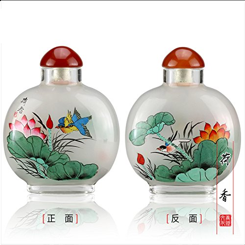 TANGFOO Creative Inside painted snuff bottles Chinese gifts Chinese style traditional hand-painted home decoration (blue) ()