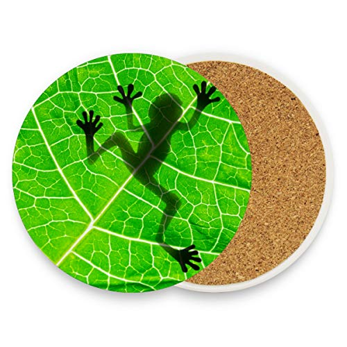 Naanle Frog Shadow on the Leaf Heat-resistant Washable Coaster, Prevent Furniture from Dirty and Scratched, Coasters Suitable for Kinds of Mugs and ()
