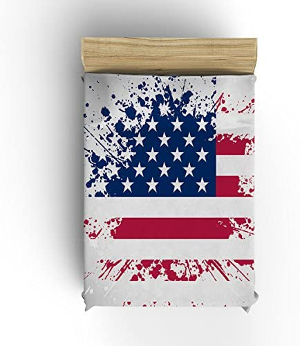 US National Flag Sputtering Style Independence Day Flannel Fleece Modern Blanket Thick Cozy Solid Blankets-White,Blue,Red