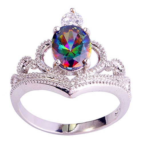 Veunora 925 Sterling Silver Created Rainbow Topaz Filled Crown Ring for Women Size 6