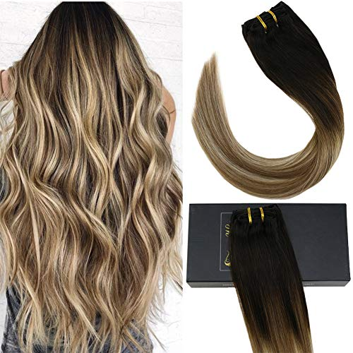 Sunny 16 Inch Hair Honey Blonde Clip in Human Hair Extensions Ombre Brown to Blonde Mixed Brown Remy Clip in Extensions 120gram Full Head Set 7pcs