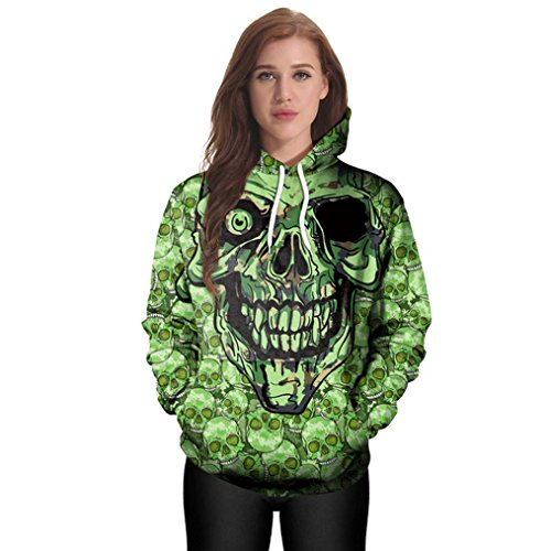 Muranba Women Casual Hoodies Print Pullover Skull Hoodie Sweatshirt Pullover Halloween Costumes Tops (M, Green) (The Nightmare Before Christmas Halloween Tumblr)