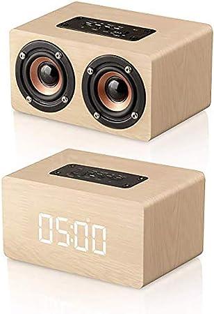 Tolyneil Réveil numérique en Bois avec Haut Parleur Bluetooth numérique, Radio Multifonctions Portable sans Fil Bluetooth avec Haut Parleur numérique