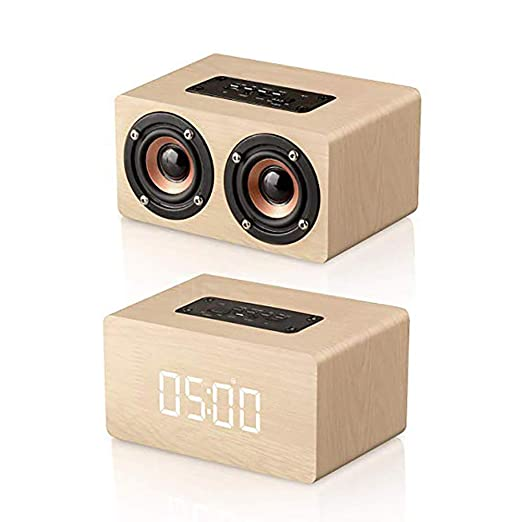 Tolyneil Despertador Digital de Madera con Altavoz Bluetooth ...