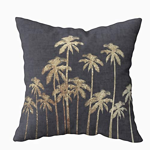 (Musesh Christams Gold Tropical Palm Trees Black Cushions Case Throw Pillow Cover for Sofa Home Decorative Pillowslip Gift Ideas Household Pillowcase Zippered Pillow Covers 20X20Inch)