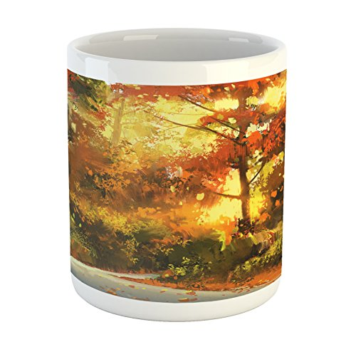 Ambesonne Fantasy Mug, Abstract Pathway in Autumn Forest with Shady Leaf of Deciduous Trees View Art, Ceramic Coffee Mug Cup for Water Tea Drinks, 11 oz, Orange Yellow ()