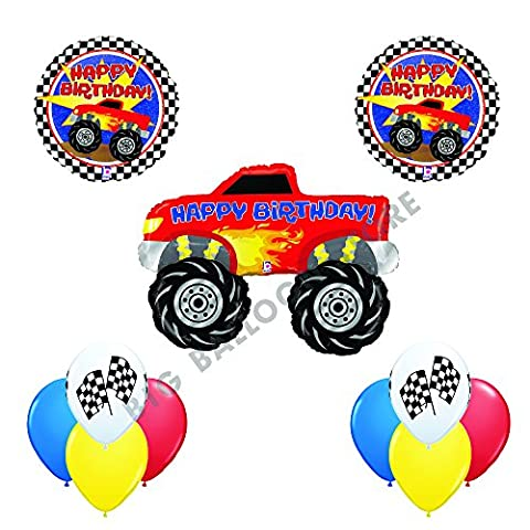 Ultimate 11 pc Monster Truck Happy Birthday Balloon Decoration kit - Red Monster Truck