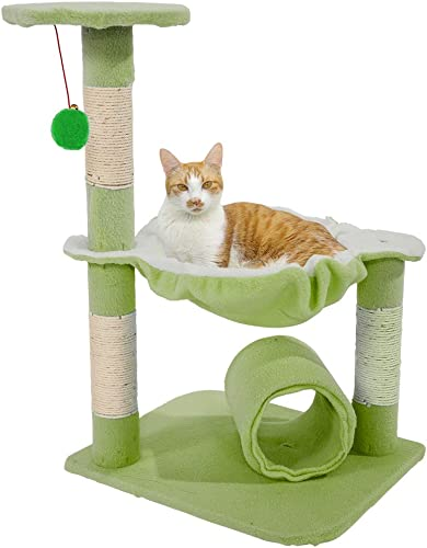 28 Inch Cat Tower, Stable Cute Sisal Cat Tree Kitty Condo with Scratching Post Pet Cat Climbing Platform Cat Climb Holder Cat Play House Pet Toys Green
