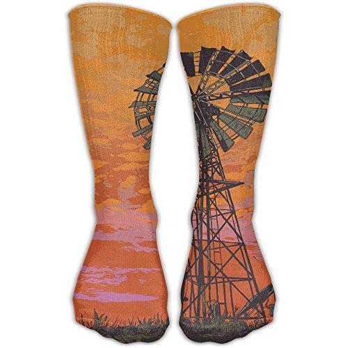 - Unisex Windmill Orange Sky Printed Sports Crew Socks Athletic Casual Sock