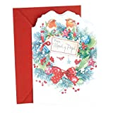 "Send your parents heartfelt greetings this holiday season with this card, featuring a painted wreath and two birds with embossed and sparkling details. ""The message on the front of the card reads, """"Para Mamá y Papá"""" Open the card to reveal ..."