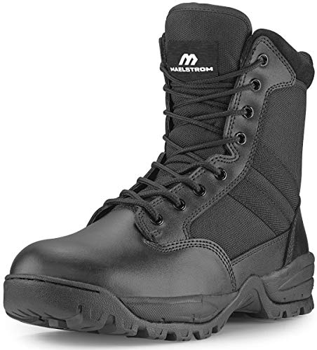 Maelstrom Men's TAC FORCE 8 Inch Military Tactical Duty Work Boot with Zipper, Black, 9 W US
