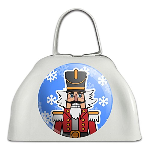 Grinning Nutcracker Soldier with Snowflakes White Metal Cowbell Cow Bell Instrument (Nutcracker Bell)