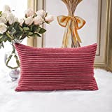 50 shades of red - HOME BRILLIANT Solid Striped Corduroy Oblong Lumbar Pillow Case Cushion Cover for Sofa, 30cm x 50cm,Dark Red