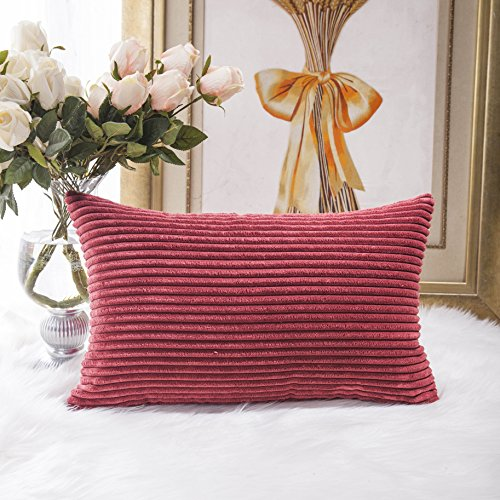 HOME BRILLIANT Solid Striped Corduroy Oblong Lumbar Pillow C