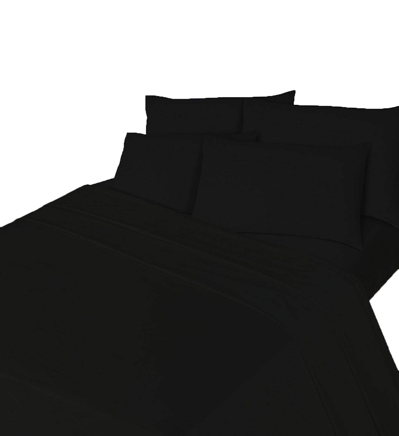 Comfy Nights Brushed Thermal Cotton Flannelette Fitted Sheet or Pillow Pair, 4Ft/Small Double - Black Home Tex Ent