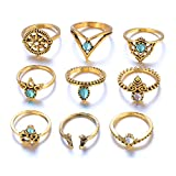 Nihewoo 9 Pcs Vintage Knuckle Ring Set for Women Girls Stackable Rings Stackable Midi Finger Ring Set (Gold)