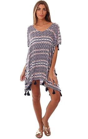 9363acc451 Vintage Havana Dresses Geometric Print Tassel Trim Caftan Mini Beach - Navy/Peach  - M