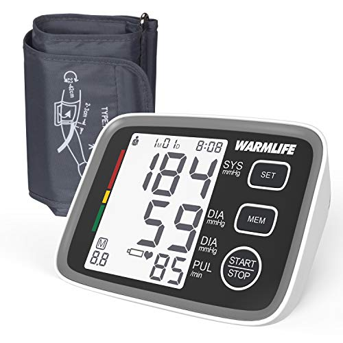 Wamlife Blood Pressure Monitor Upper Arm with Easy to Use, Large Display & Voice, Wide-Range Cuff for Home (Classical Black)