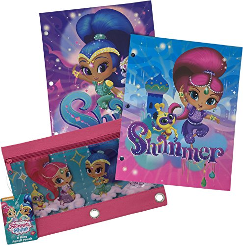 Shimmer and Shine Pink and Purple Back to School Supplies Bundle for Girls - Folders and Pencil Case - 3 Total Pieces