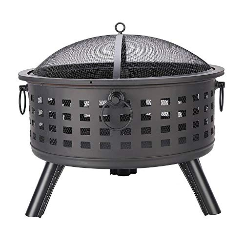 26 inch Round Lattice Fire Bowl,Garden Light Halo Warm Fire Pit