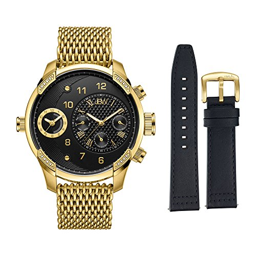 JBW Men's J6355-SetB G3 World Traveler Set 0.16 ctw 18k gold-plated stainless-steel Diamond Watch