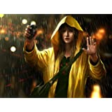 D2797 Girl Raincoat Grenade Laser Dots Weapon 32x24 Print POSTER