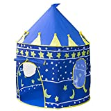 Kashine Kids Prince Playhouse Children Boys Castle Tent Indoor or Outdoor, Great for Backyard, Play Areas, Garden Includes Portable Carry Bag and Foldable for Travel (Blue)