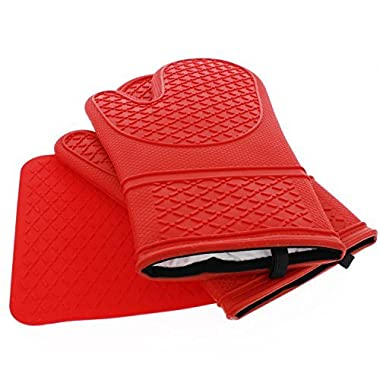 Elbee Silicone Oven Mitts Heat Resistant to 450F, Quilted Cotton Lining (Red, Bonus Free Potholder, Set of 3)