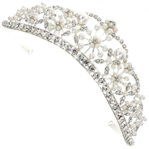 Regal Royal Princess Pearl and Austrian Crystal Starlet Crown Bridal Wedding Hair Tiara Silver Head Band Piece Accessory by Bridal Wedding Accessories.co.uk by Bridal Wedding Accessories.co.uk