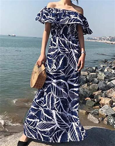Blu con abbigliamento di lungo Abito Rcdxing Vestito scollo abito con Abito lungo con elegante loto di Abito foglie barca a Capi stampa foglia a Abito TSgnBq8T