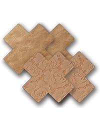 Bristols 6 Nippies Basics Self Adhesive Nipple Covers-Caramel Cross-4 count, Size C