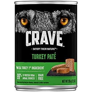 CRAVE Grain Free Adult Canned High Protein Natural Soft Wet Dog Food Turkey Paté, (12) 12.5 oz. Cans