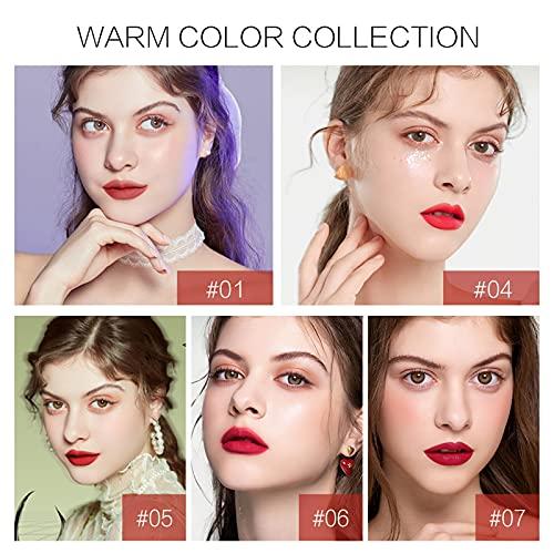 Lipstick Set, New Matte Nourishing Lipstick Velvet Long Lasting Waterproof Lip Gloss 4ml, Pigmented Lip Makeup Gift for Girls and Women(A)