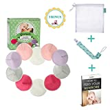 Glangels Contoured Organic Washable& Reusable Nursing Pads, Naturally Fit No Bunch Up, Super Soft Hypoallergenic Antibacterial Bamboo Breastfeeding Pads, Soothes Sensitive Nipple,4 Paris Regular and 1 Pair Thick Overnight Mixed Cotton Pads, Full Care for B