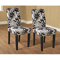 Parson Black Silver Upholstered Finish Set Dining Room Furniture Side Chair Pair (2 Pcs)