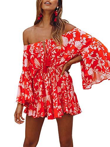 GAMISOTE Womens Off Shoulder Mini Dress Bell Sleeves Boho Floral Print Short Sundress Red