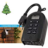 myTouchSmart 26898-P1 Indoor and Outdoor Digital Timer, Plug-in, Two Grounded, Weather Resistant, Presets/Custom Countdown, Ideal for String, Christmas Lights, 26898, 1-pack, Black 2-Outlet Daily