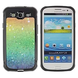 Fuerte Suave TPU GEL Caso Carcasa de Protección Funda para Samsung Galaxy S3 I9300 / Business Style Rainbow Glittering Silver Green